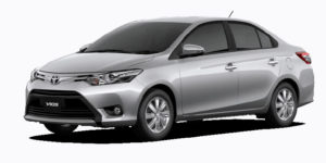 image of front three-quarter view of Toyota Vios saloon car for rent